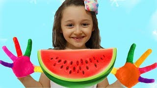 Öykü Play with Paints & watermelon, Wash Your Hands- fun kid video