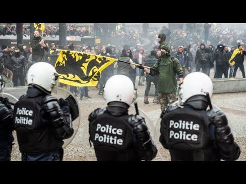 Scuffles break out at Belgium protest against UN migration pact