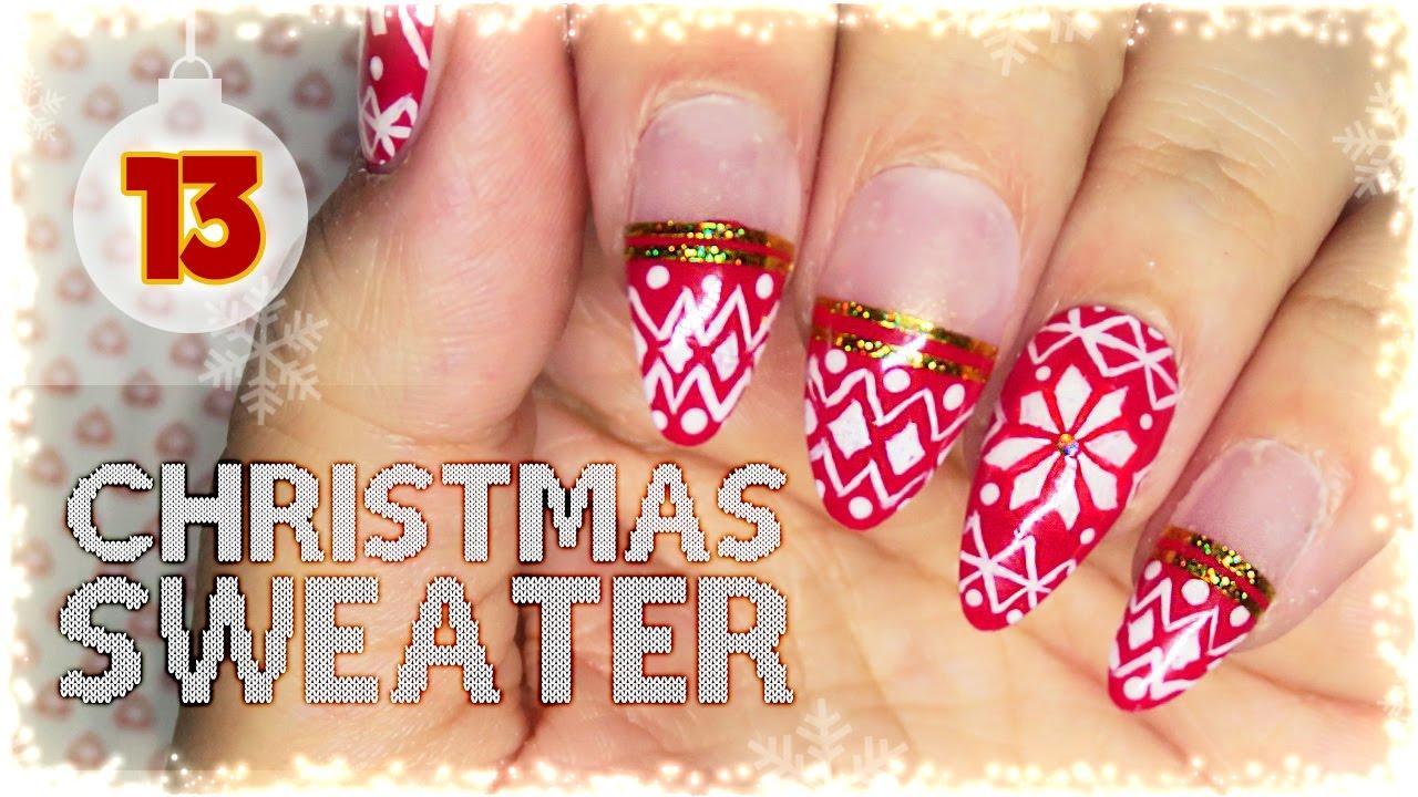 13. Christmas Sweater Nail Art Tutorial // Nail Art Advent ...
