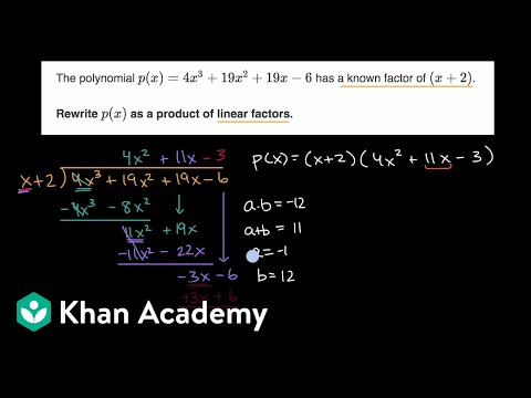 Completely factoring polynomial given a factor
