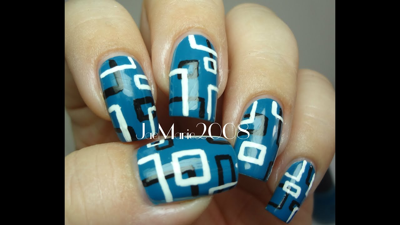Retro Squares- Nail Design - YouTube