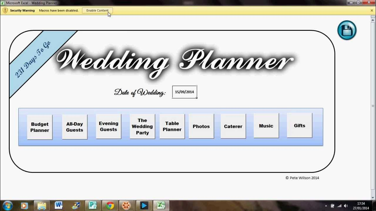 The Ultimate Excel Wedding Planner