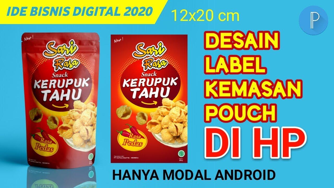 Desain Label Kemasan Kerupuk Tahu di HP Aplikasi Pixellab - Packaging Label Design at Pixellab