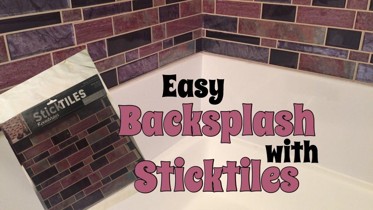 Diy Peel And Stick Backsplash Bathroom Enhancement Youtube