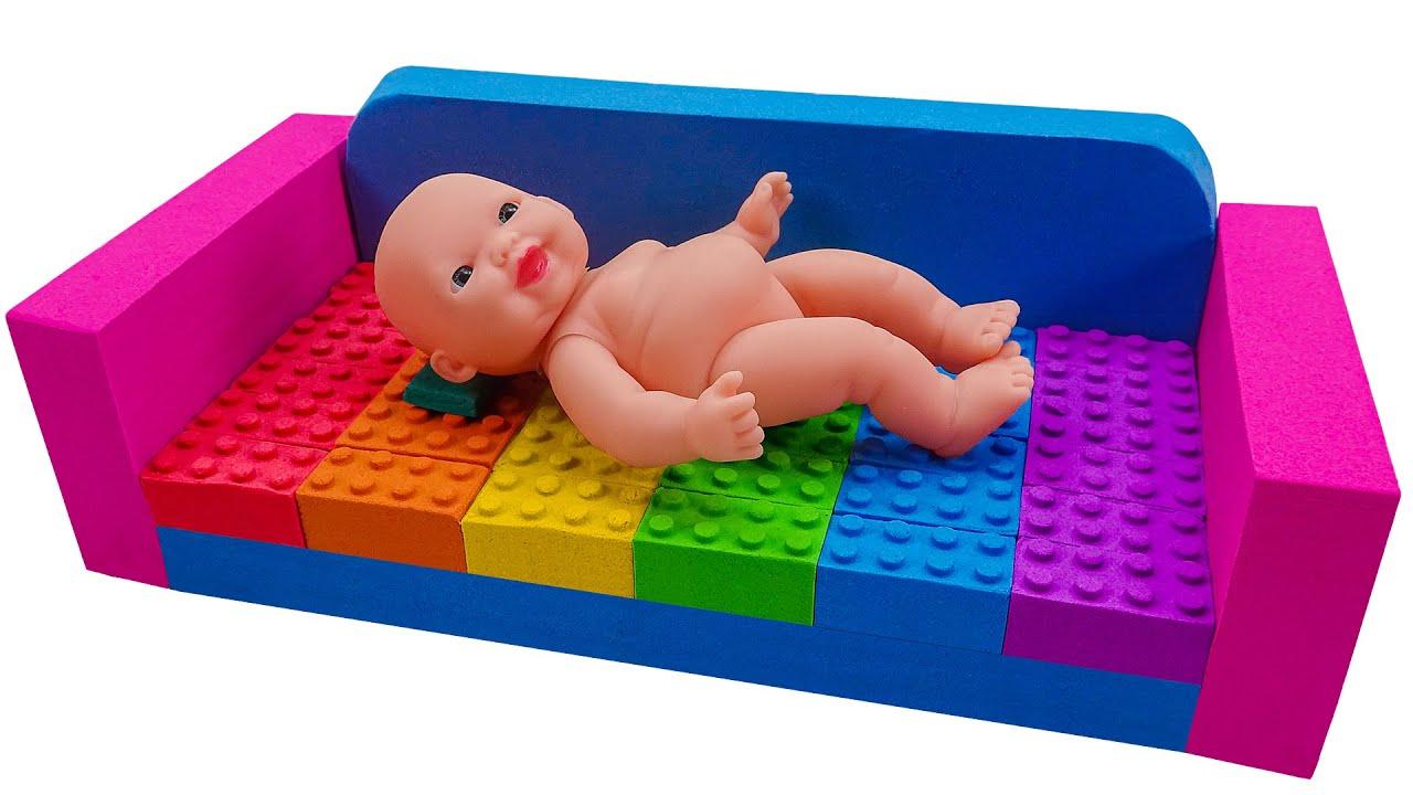 Download Satisfying Asmr l How To Make Rainbow Lego Sofa With Kinetic Sand Cutting ASMR #253 Bon Bon