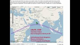 Total Solar Eclipses over India during 2000-2200 AD