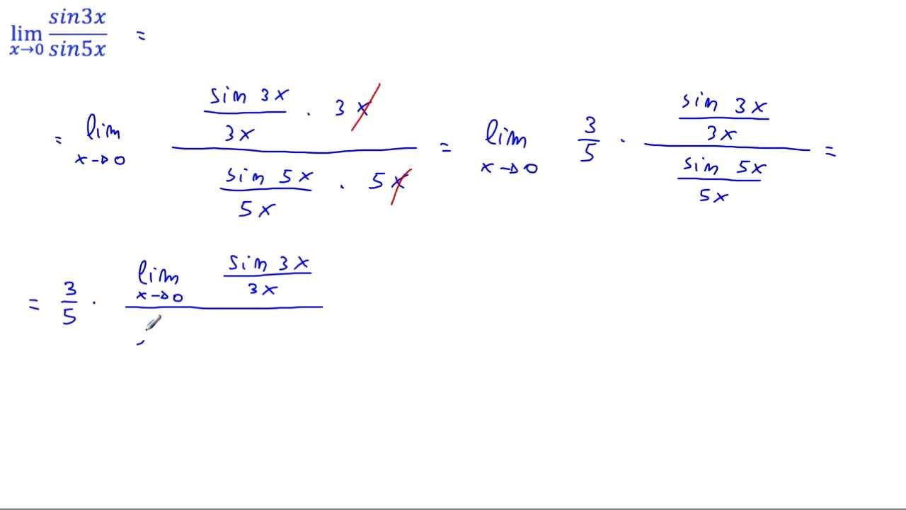 Calcolare il lim [(sin3x)/(sin5x)], per x → 0 - YouTube