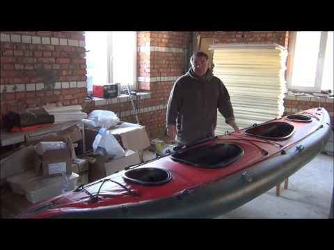 Тест драйв самодельной лодки байдарки из фанеры на колёсах и на воде.