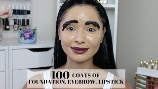 100 Coats Of Foundation, Eyebrow, Lipstick & Highlight