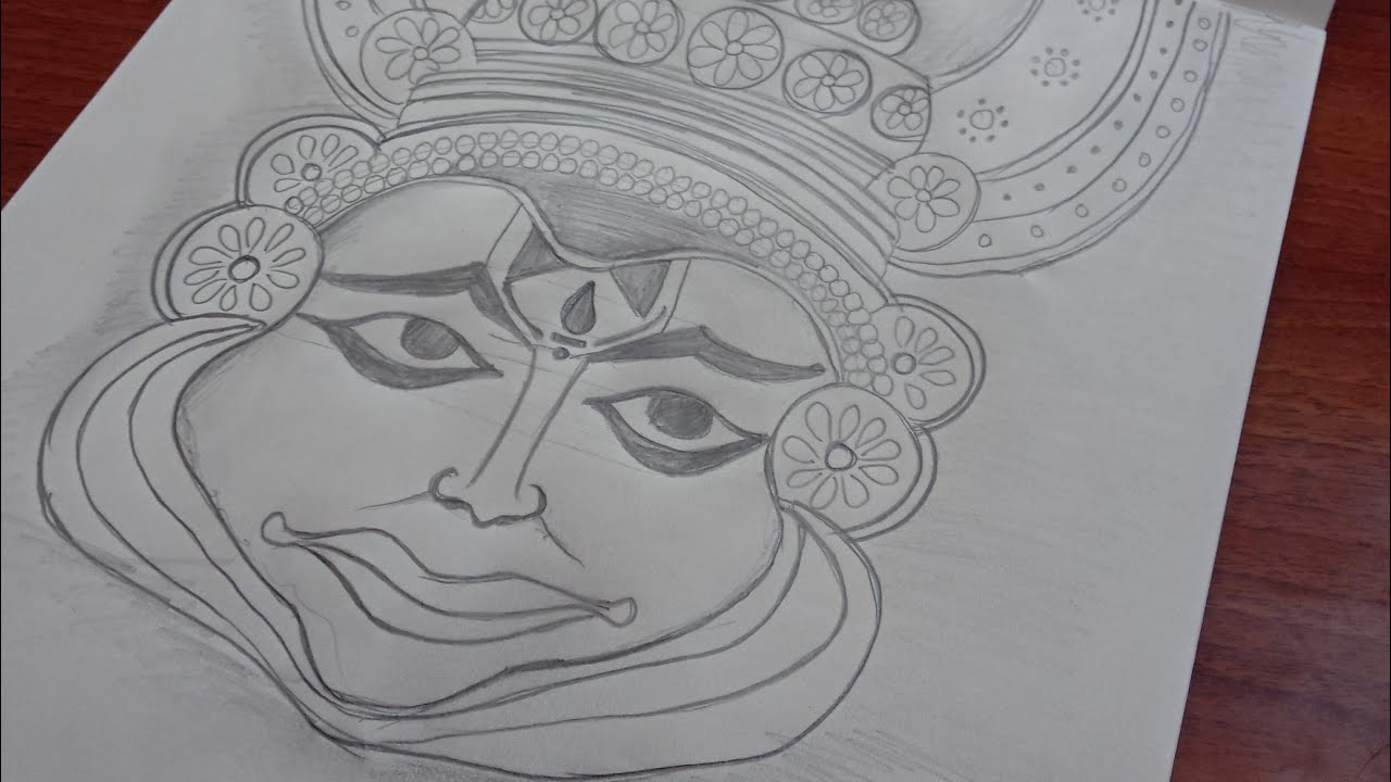 Onam Drawing Onam Celebration Drawing Kathakali Face Drawing Kathakali Face Kathakali Face Sketch Youtube