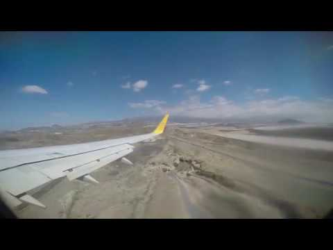 Primera Air B737-86N, Descend, Landing and taxi to stand at Tenerife South Airport