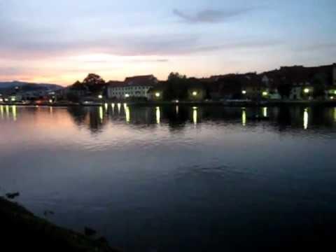Maribor, Slovenia, Drava River at Dusk