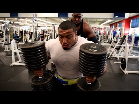 LARRYWHEELS VS STEVE GENTILI 450LB INCLINE DUMBBELL PRESS!