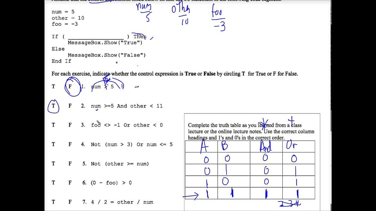 VB Tracing If Statements Worksheet 2 YouTube – Truth Table Worksheet