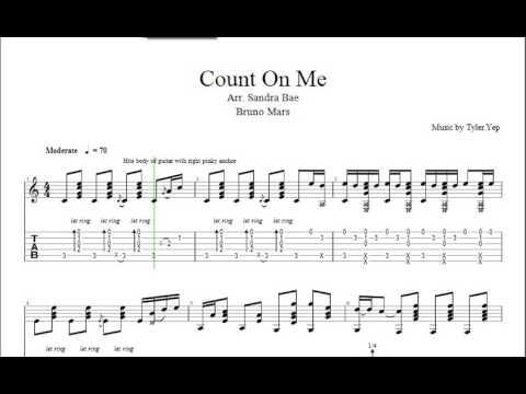 Count On Me Bruno Mars Tab Guitar Sandra Bae Youtube