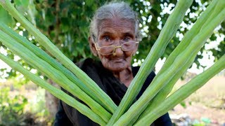 My 105 years Grandma Cooking Drumstic Curry | Drumstick Curry |Country food