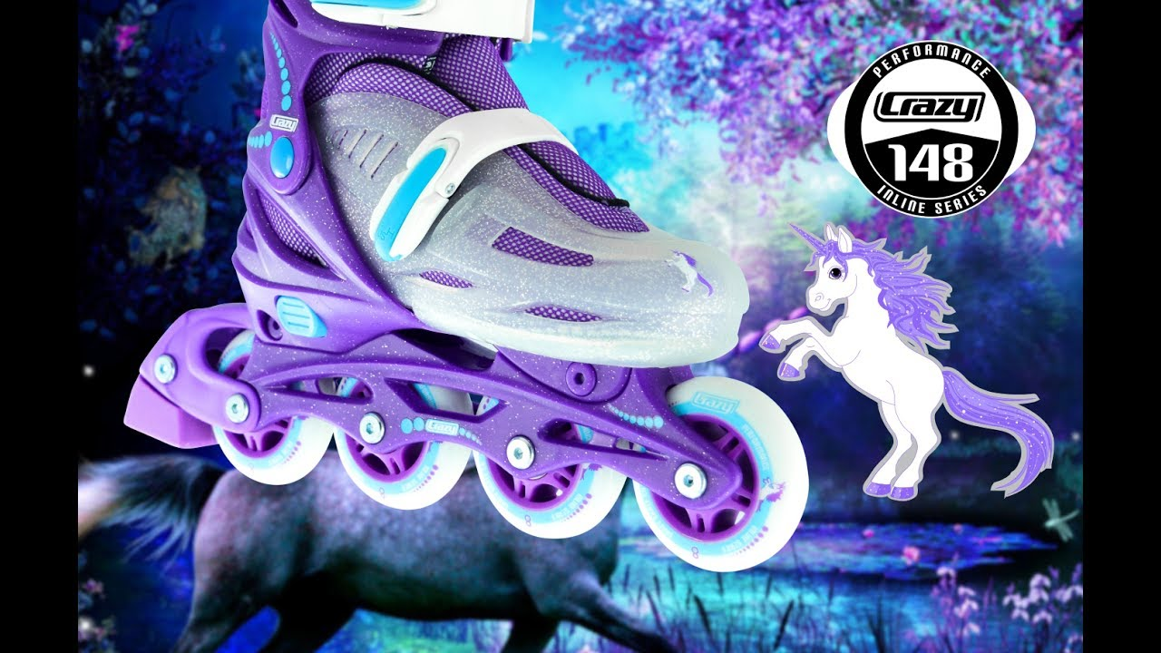 201076886e97 148 Purple Glitter Kids Adjustable Skate by Crazy Skates - YouTube