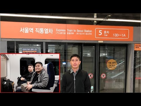 Arex Express Train from Incheon Airport to Seoul Station and Hotel
