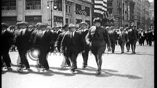 Thousands of inductees march on 5th Avenue in New York City,  during World War I. HD Stock Footage