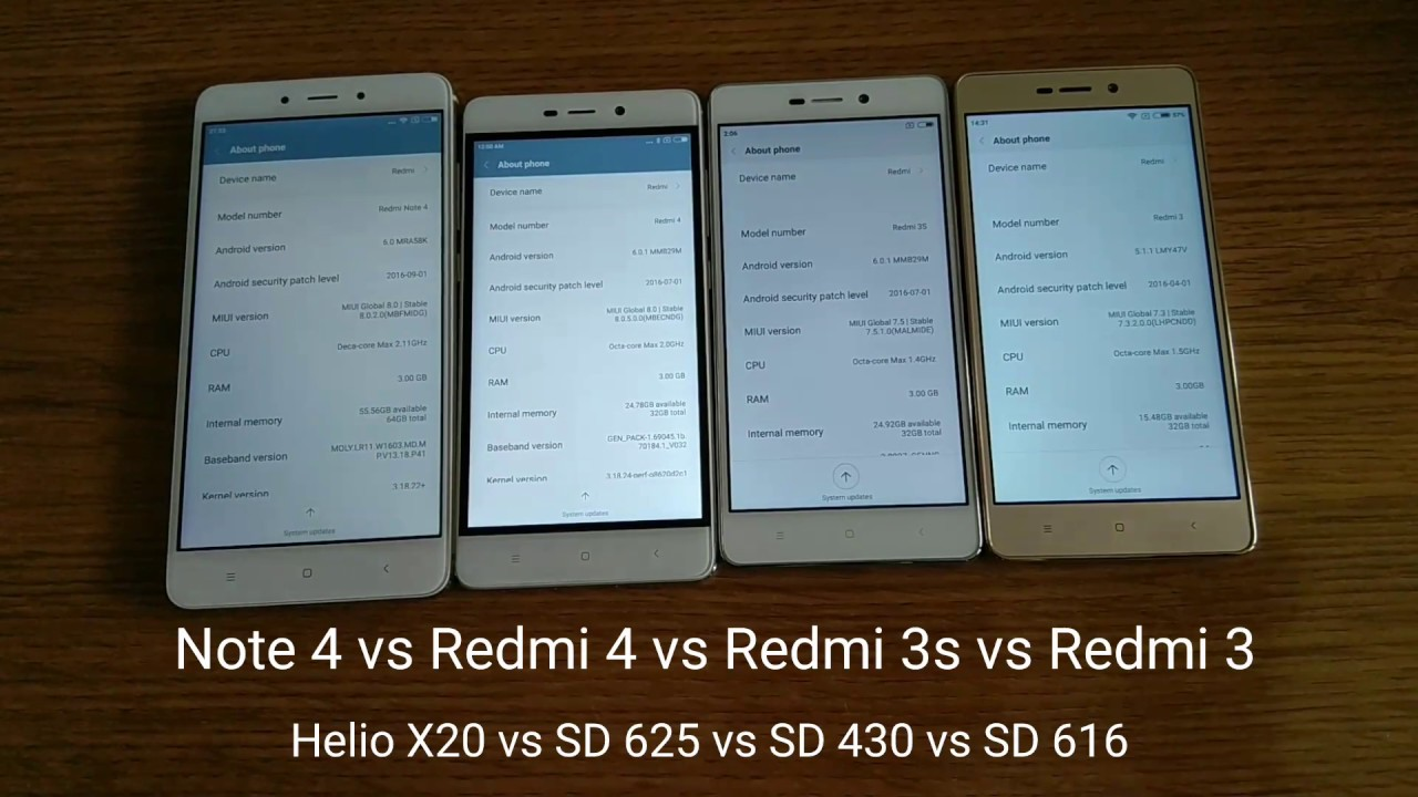 xiaomi redmi note 4 vs redmi 4 prime vs redmi 3s vs redmi