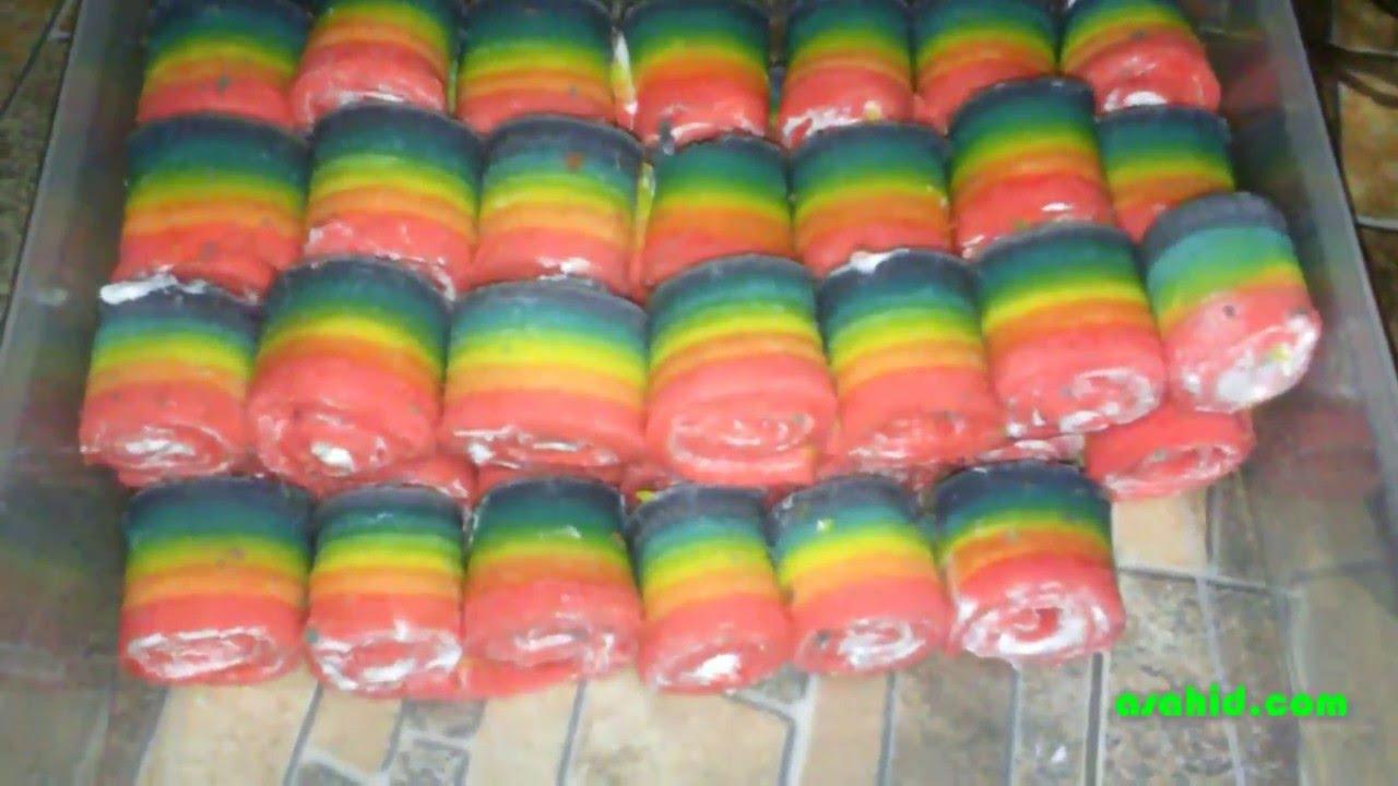 Cara Membuat Rainbow Cake Gulung Kue Pelangi Youtube
