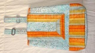 Mochila em tecidos Arco Íris – Maria Adna Ateliê