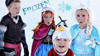 Frozen Elsa, Anna, and Kristoff Build Snowman Olaf without Magic! Frozen Parody