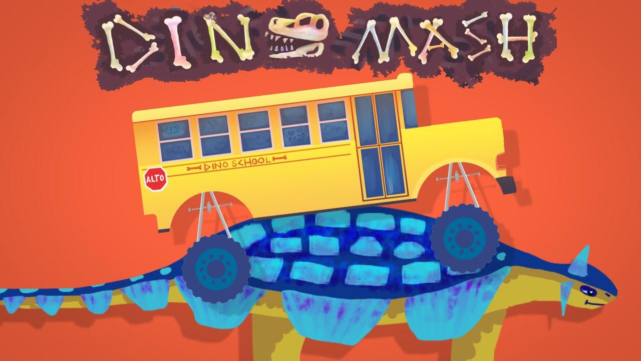 dinomash  dino mash  new monster trucks vs dinosaurs