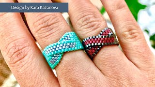 Twist ring tutorial | Even Count Peyote Stitch | Beaded Ring