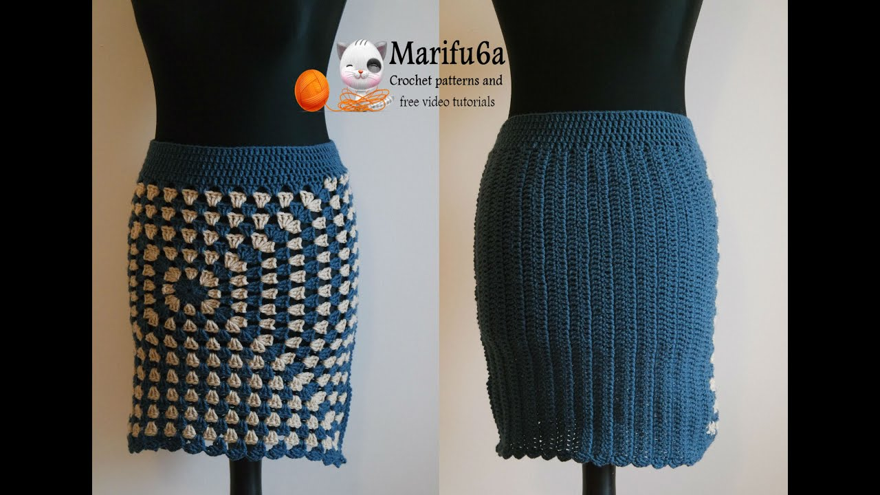 How to crochet easy warm skirt for beginners free tutorial pattern ...