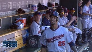Buxton homers to left, gets silent treatment