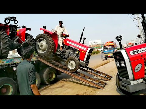 Talented Driver Loaded The New Massey Ferguson Tractors On Trailer In Millat Tractor Company