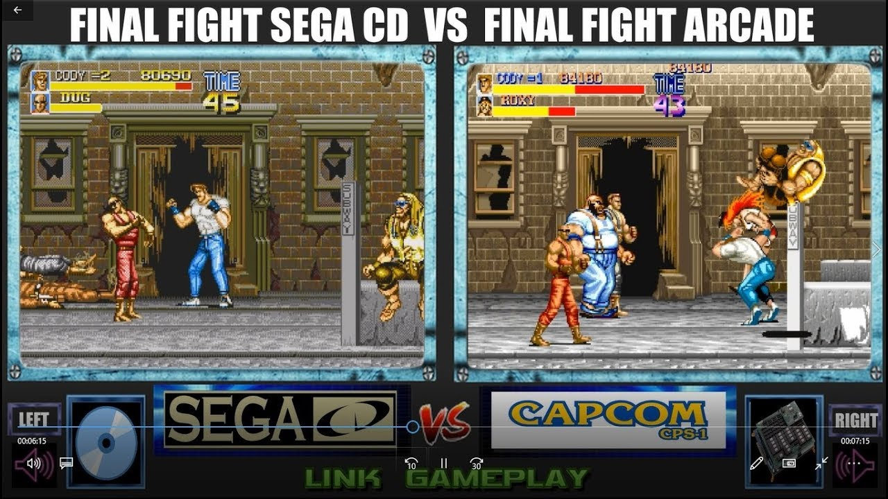 YouTube FINAL FIGHT SEGA CD VS FINAL FIGHT ARCADE ( CD VS CHIP