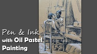 Pen & Ink with Oil Pastel mixed media Painting | Drawing Saloon