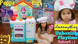 Maya Loves Peppa Pig! Peppa Pig&#39s Kitchen Playset Unboxing and Playtime Fun! Cooking Pl ...