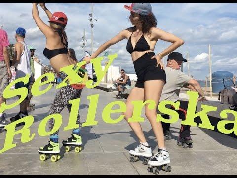 Girls roller skating in bikinis