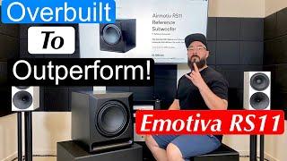Emotiva RS11 Subwoofer Review! Overbuilt to Outperform! #first