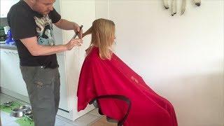 A long to graduated bob haircut makeover