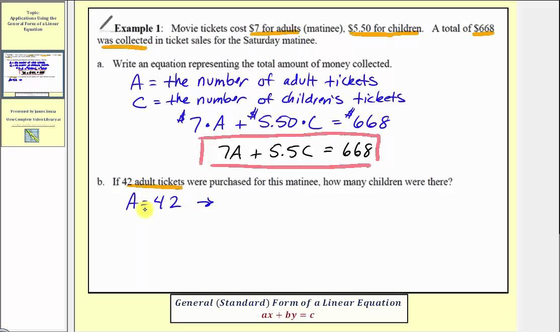Application of a Linear Equation in General (Standard) Form (L11.5 ...