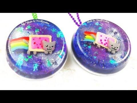 DIY NYAN CAT Galaxy Pendant Resin and Polymer Clay Tutorial - ADORABLE how to make a nyan cat craft