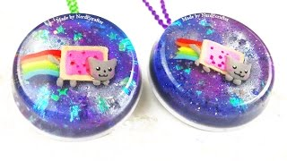 DIY NYAN CAT Galaxy Pendant Resin and Polymer Clay Tutorial - ADORABLE how to make a nyan cat craft