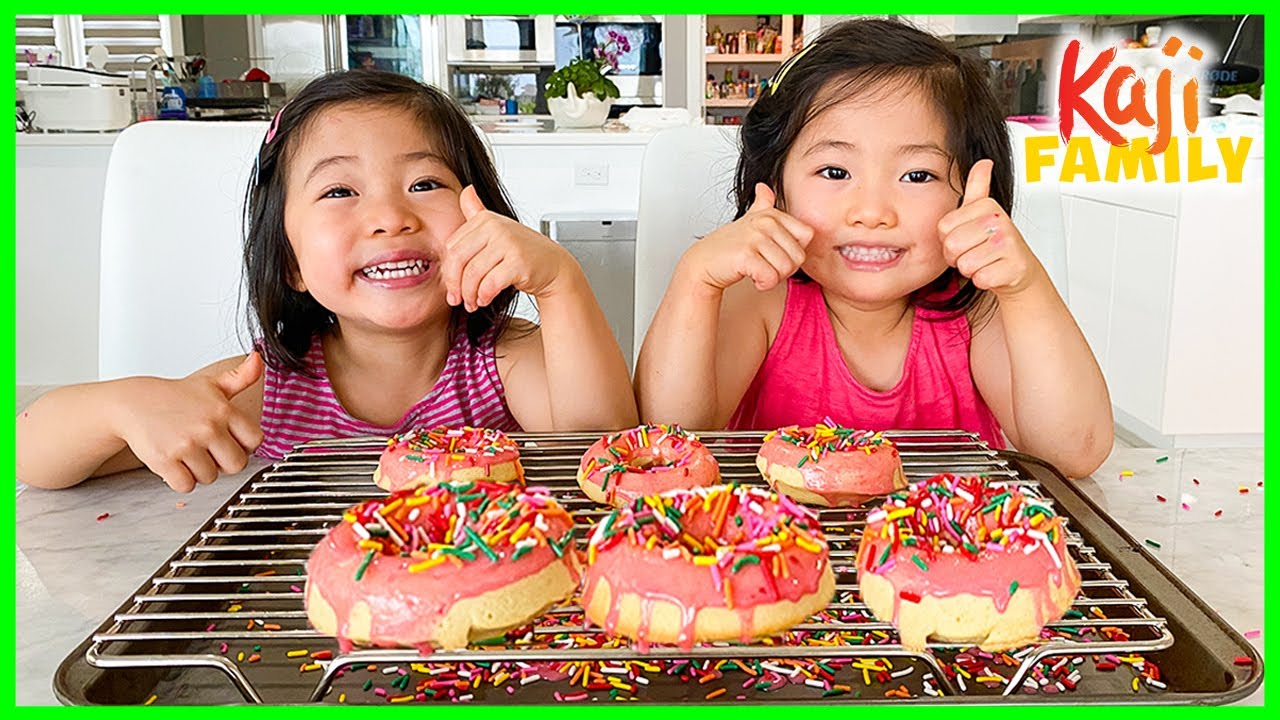 Kids Size Baking How to Make DIY Donuts with Emma and Kate!!!