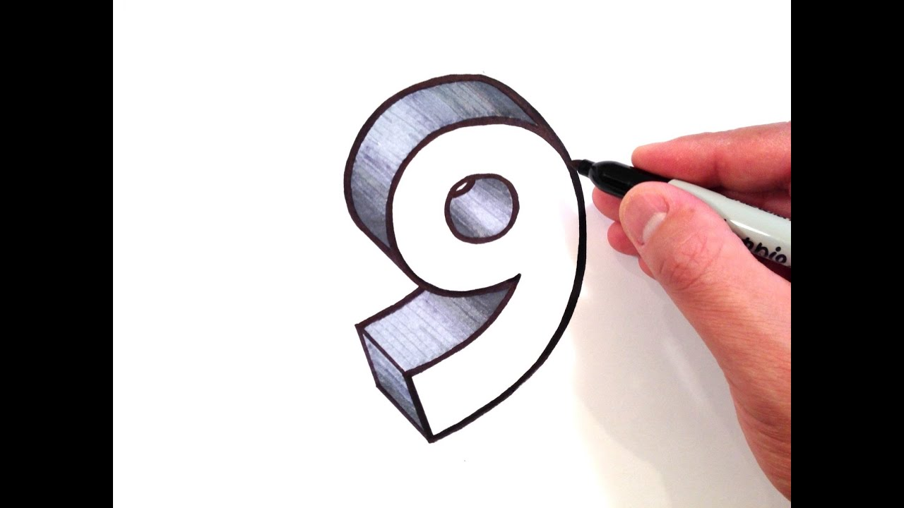 How To Draw The Number 9 In 3d Youtube