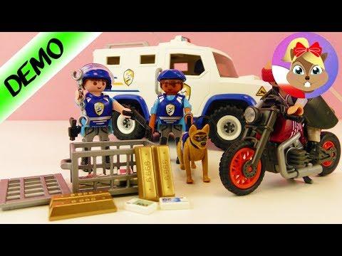 Playmobil policja TRANSPORTER PIENIĘDZY - jednostka specjalna+pies - kradzież! Demo j.polski