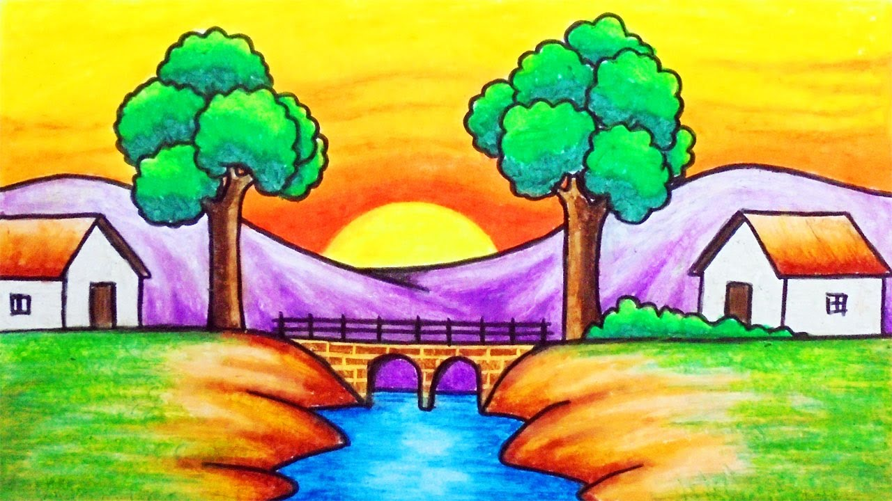 Easy Sunset Scenery Drawing How To Draw Beautiful Sunset In The Village Scenery With Oil Pastels Youtube