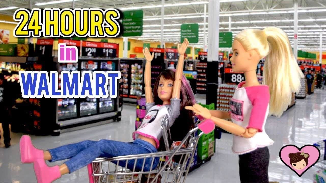 Barbie Doll 24 Hour Challenge Overnight In The Supermarket