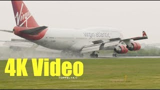 7 Different Aircraft landings on wet runway in 4K