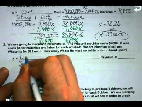 Alg 1 - Unit 2A - Break Even Problems - Youtube