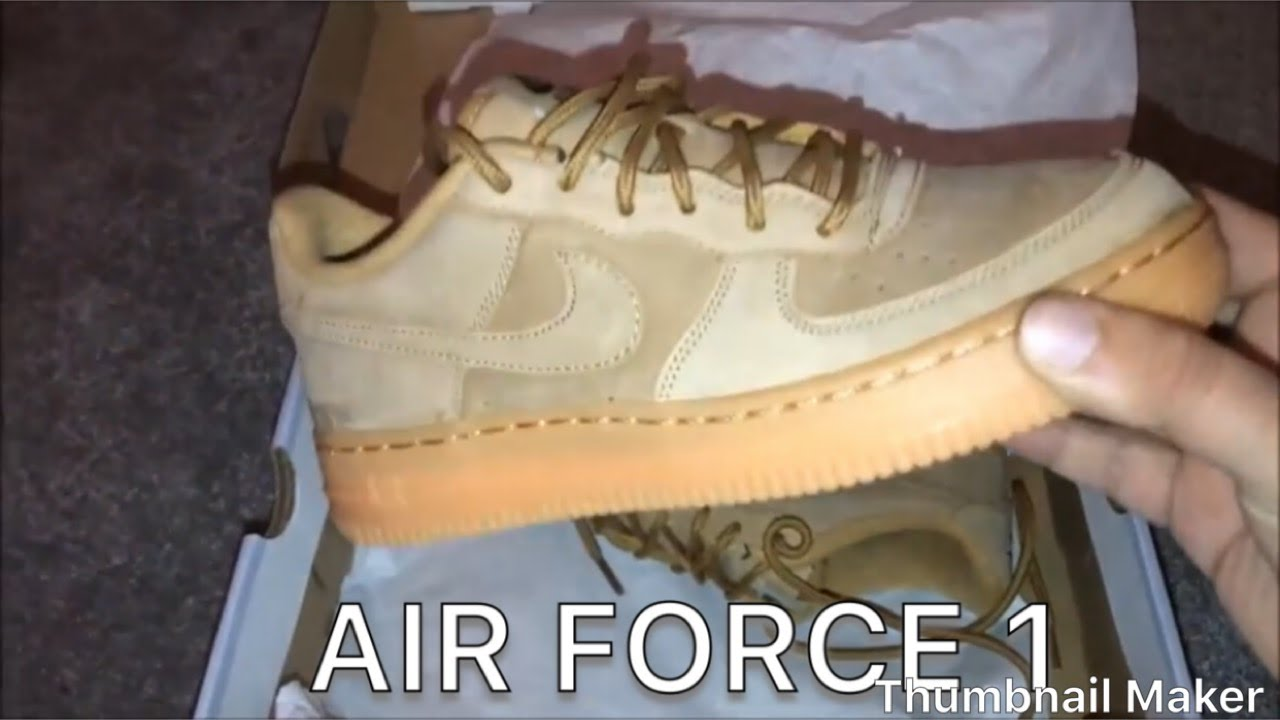 finest selection f992c 6d10e NIKE AIR FORCE 1 WINTER PRM GS FLAX OUTDOOR GREEN Unboxing