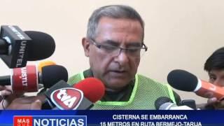 CISTERNA SE EMBARRANCA 15 METROS EN RUTA BERMEJO - TARIJA